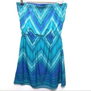 Express Blue Strapless Mini Dress